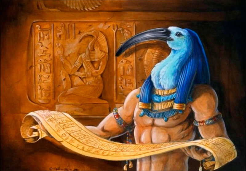 Representación del dios egipcio Thoth asociado al ibis.