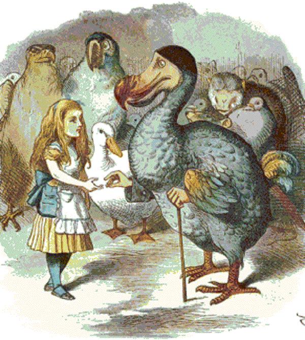 Ilustración original del cuento de Alicia en el País de las Maravillas donde podemos ver a un grupo del dodo